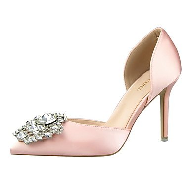 eu39 pink Women's Red Toe Sandals Shoes Closed Toe Heels Stiletto Pink Silk Gold Gray Dress Heel Black uk6 us8 Pointed cn39 Green HHqrTxw