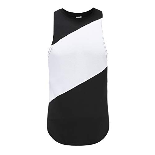 Mens Striped Sleeveless Tank Tops, Ratoop Summer Contrast Color Patchwork O-Neck Blouse Shirt High Low Running Sport Tee (L, Black) -