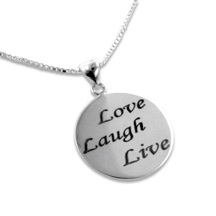 Love, Laugh, Live Inspirational Quote Sterling Silver Affirmation Pendant - Affirmation Pendant