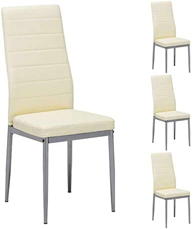 Mecor Modern Dining Chairs Set of 4, High Back PU Leather with Steel Frame Legs Kitchen Room Chairs Light Yellow