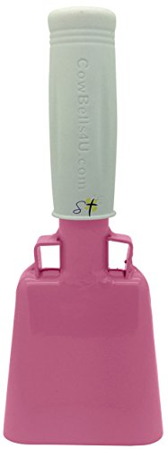 6.1 inch Pink Bell White Handle Cowbell with Stick Grip Handle Used for Cheering at Sporting Events - Cow Bell by Stewart Trading™