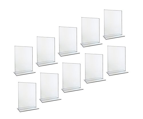 Beryland Acrylic Sign Holder - 5 x 7 inches - Side Insert, 10-Pack of Sign Holders (Box of 10)