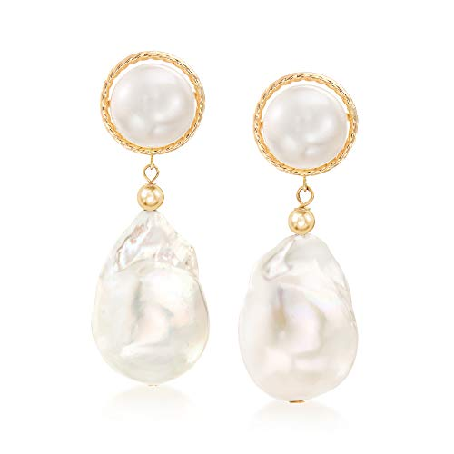 Ross-Simons 8.5-13mm Cultured Button and Baroque Pearl Drop Earrings in 14kt Yellow Gold 13mm Cultured Freshwater Pearl Button