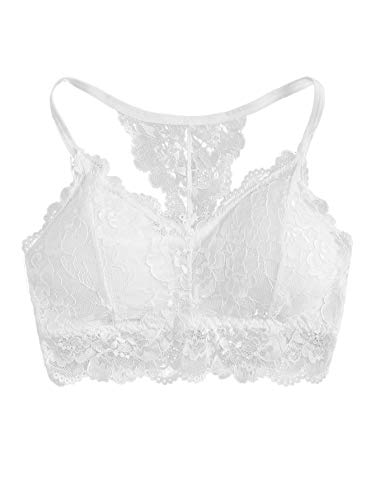 SheIn Women's Strappy Racerback Lace Bralette Cami Crop Top Lace Bra Bustier One-Size White