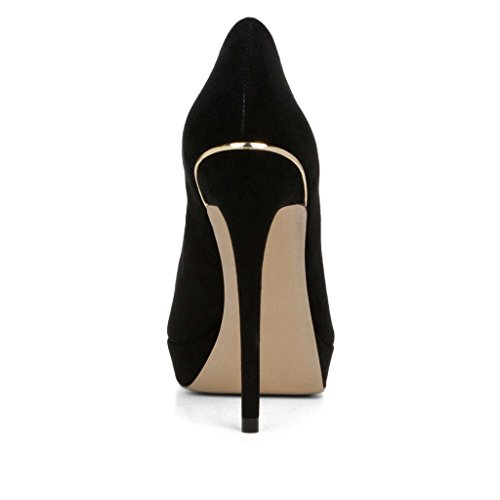 Kolnoo 125mm Peep Toe Plateau Pumps Stiletto High Heels Abendschuhe Schwarz