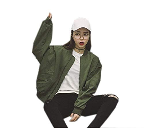 Outerwear Cerniera Cappotto Lunga Coreana Moda Chic Collo Monocromo Aviatore Sciolto Di Manica Autunno Giacca grün Da Libero Bomber Donna Eleganti Invernali Con Tempo Baseball Cute Armee d871vAx