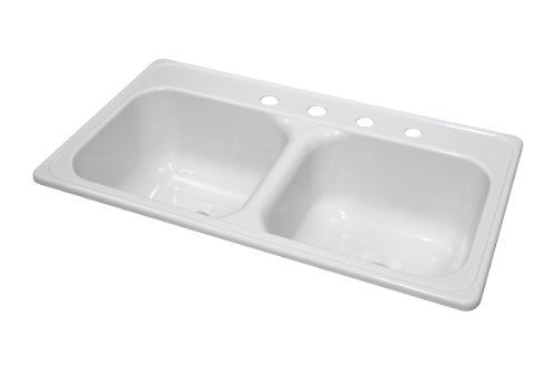 Lyons Industries DKS01J4-3.5 White 33-Inch by 19-Inch Manufactured/Mobile Home Acrylic 9-Inch Deep Kitchen Sink, Four Hole