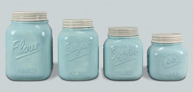 Blue Ceramic Canister - Set of 4 by Heart of America