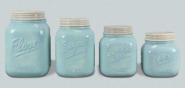 Blue Ceramic Canister - Set of 4