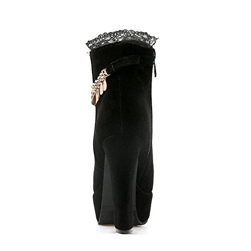 Lace Suede Boots Imitated BalaMasa Womens Black Platform Metal Chain wOFU4vZ