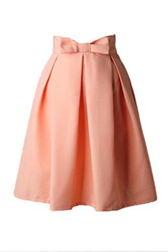 Tutu Vintage Noeud Jupe Pink Taille Femmes Swing Vemubapis Haute Monocolor Papillon Plisse aqAx8