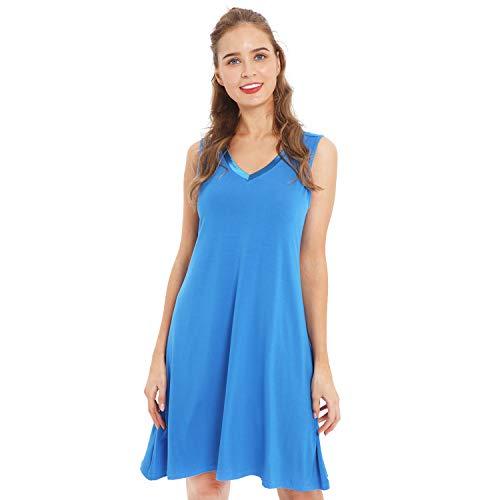 GYS Womens Bamboo Viscose Sleeveless V Neck Nightgown(XL, Capri Blue)