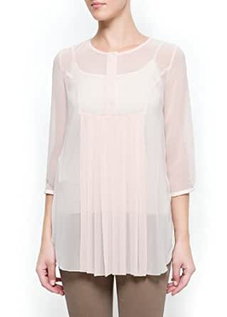 Mango Women's Pleated Sheer Blouse - Margarit