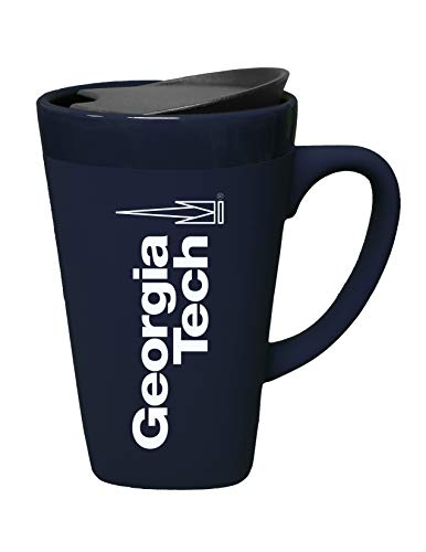 The Fanatic Group Georgia Tech Ceramic Mug with Swivel Lid, Design 2 - Blue ()