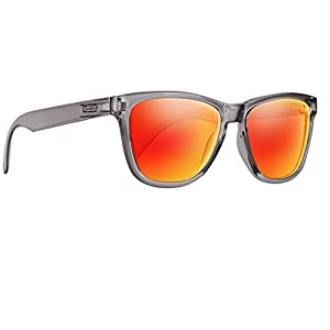 Classic Grey Frame Polarized Sunglasses With Orange Mirror UV Protection Lenses For Men & Women - The Disco By NECTAR