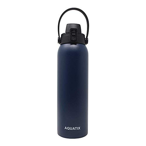 Aquatix Flip Top Double Wall Insulated Stainless Steel Sports Water Bottle (Midnight Blue, 32-Ounce)