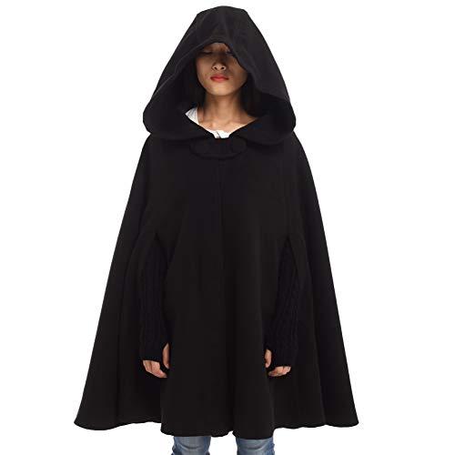 GRACEART Women's Hoodie Woolen Cape Cloak Costume (Short Style (Black)) (For Women Hooded Cape)