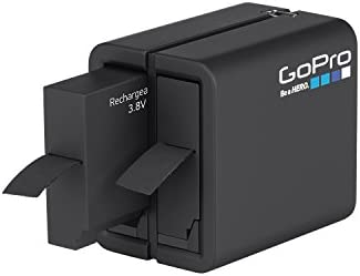 GoPro Dual Battery Charger w/Battery + Action Grip + Camera Case