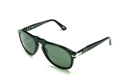 Persol 0649 Shiny Black Frame/Grey Polarized Lens Plastic Sunglasses, 52mm