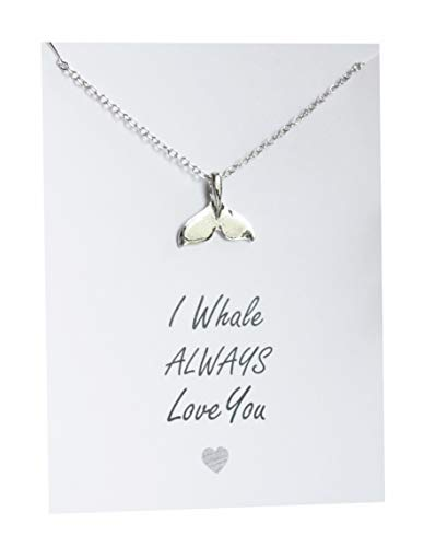 VIY Personal Card Whale Tail Pendant Necklace Love You Gift for Woman Summer Friends and Family Present for her 18 inch Silver Chain