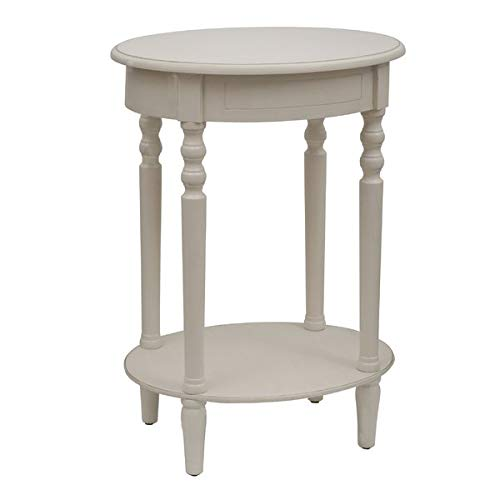 (Wood End Table Lower Shelf - Round End Table - Antique)