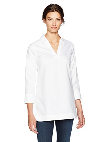 Foxcroft Women's Plus Size Nora Solid Non Iron Tunic, White, 18W