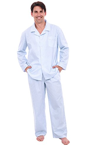 Alexander Del Rossa Mens Cotton Striped and Plaid Pajamas, Long Woven Pj Set