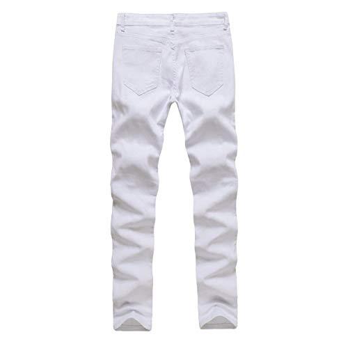 Vita Media Denim A Jeans Fit Moda Abbigliamento Whiteblack Alla Uomo Strappati Slim Pantaloni Elasticizzati Dritti Da pxPwP