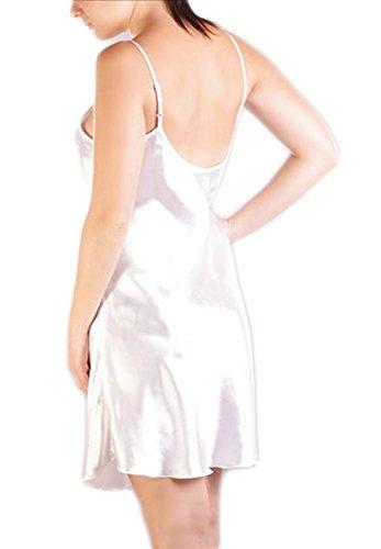 Satin Nachtkleid Nachthemd Damen Negligee Babydoll Desouss Nachtwäsche glänzend Weiß QwGieq