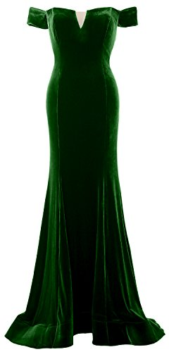 MACloth Women Mermaid Off Shoulder Prom Gown Elegant Velvet Formal Evening Dress Verde Oscuro