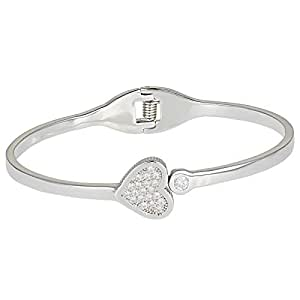 AK Jewels Women's Silver 925 Heart with Crystal Cuff Bangle