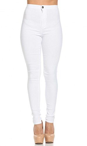 SOHO GLAM Super High Waisted Stretchy Skinny Jeans in White
