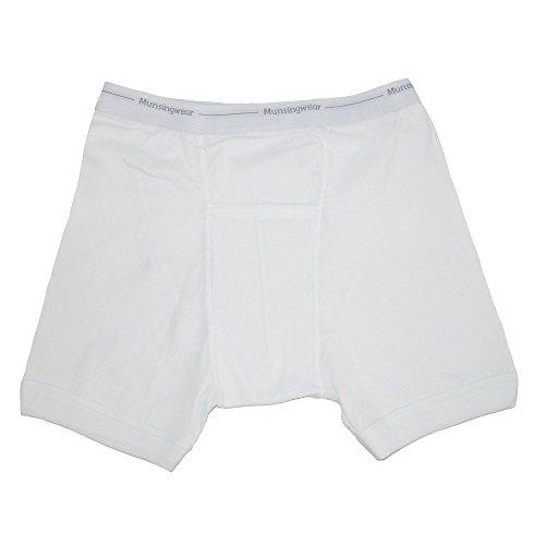 Munsingwear Mens Big and Tall Ribbed Knit Boxer Briefs White