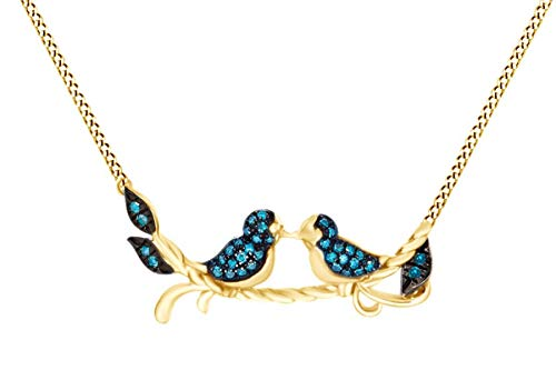 Blue Natural Diamond Two Tone Love Bird Pendant Necklace 14K Yellow Gold Over Sterling Silver (0.10 Cttw) ()