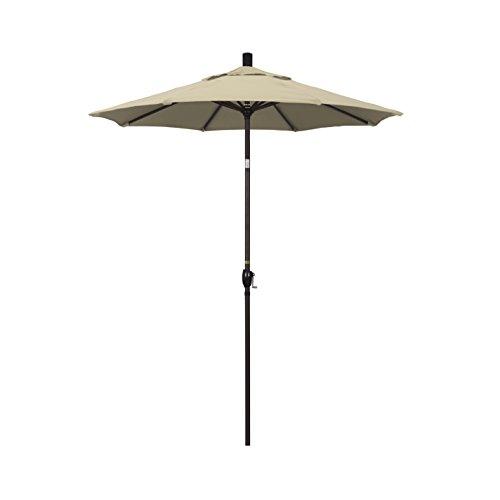 California Umbrella 6 Round Aluminum Market Umbrella, Crank Lift, Push Button Tilt, Bronze Pole, Sunbrella Antique Beige