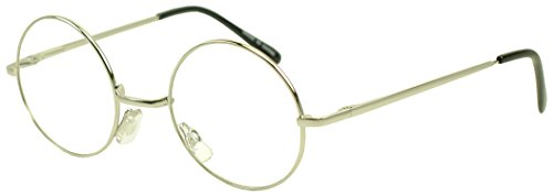 Sunglass Stop - Large Oversized Vintage Retro Metal Frame Nerdy Circle Clear Lens Glasses (Silver , Clear - Sunglasses Dorky