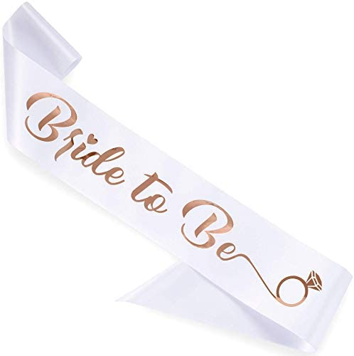 CORRURE 'Bride to Be' Bachelorette Party Sash - Bridal Shower White Satin Sash with Rose Gold Foil Lettering - Hen Party Decorations Supplies Accessories, Wedding Engagement Party Favors Gift