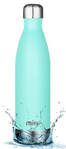 MIRA 25 Oz Stainless Steel Vacuum Insulated Water Bottle | Leak-Proof Double Walled Powder Coated Cola Shape Bottle | Keeps Drinks Cold for 24 Hours & Hot for 12 Hours | 750 ml Teal