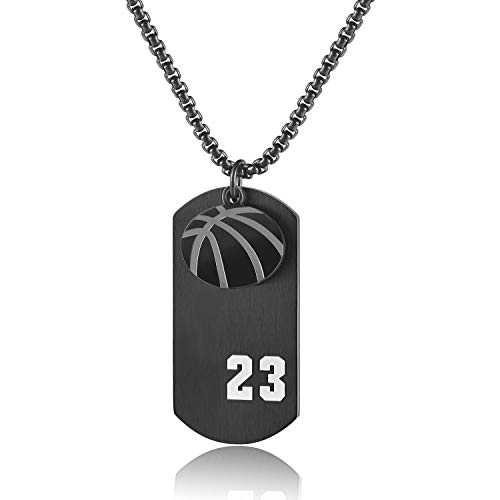 (JHoly Stainless Steel Boy's Basketball Player 23 Cross Dog Tag Pendant I Can Do All Things Necklace (Black))