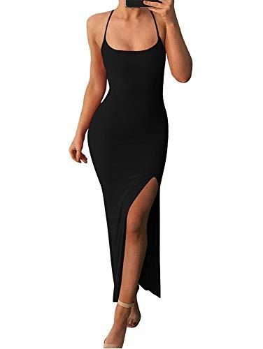 TOB Women's Sexy Bodycon Sleeveless Cross Criss Spaghetti Strap Split Evening Long Dress Black