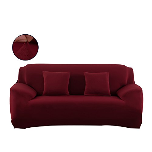 FORCHEER Sofa Covers for Leather Sofa Polyester Slip Resistant Stretch Couch Slipcover Furniture Protector Cover (Big Sofa, Wine Red) (Slip Covered Sofa)