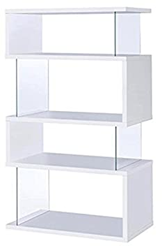 Asymmetrical Snaking Bookcase White Glossy and Clear