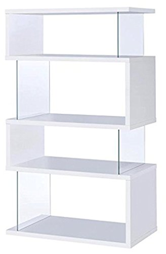 Asymmetrical Snaking Bookcase White Glossy and Clear by Coaster Home Furnishings (Image #1)