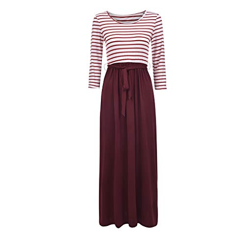 BCDshop Women Casual Floral Long Sleeve Boho Maxi Dresses with Pockets High Waist (Wine Red, XL)