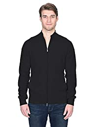 State Fusio Men's Cashmere Wool Full-Zip Mock Neck Cardigan Sweater Premium Quality