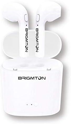 Brigmton Bml-15 Blanco Auriculares Inalámbricos Manos Libres Bluetooth con Micrófono Y Estuche Batería