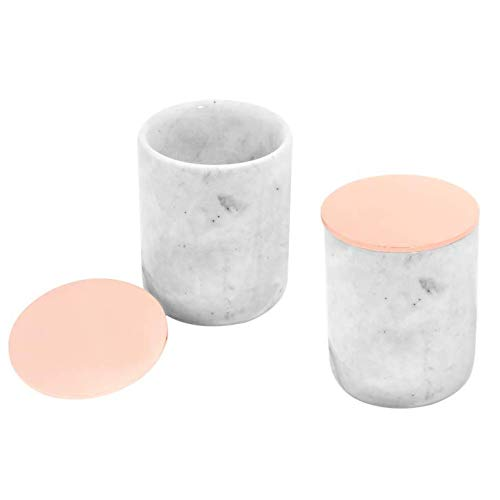 Set of 2 Marble Jars with Rose Gold Lids | Small Gray & White Marble Round Container Set | Make-up Brush Holder, Q-tip Holder, Bath Vanity Set, Candle Holder Cup | Rose Gold Metal Lids Included