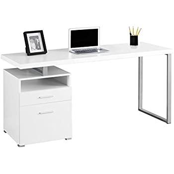 Amazon Com Monarch Metal Computer Desk White Silver 60