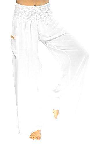 PIYOGA Women's Boutique Lounge and Yoga Pants, Elastic Waistband and Flare Bottom (One Size fits US W Size 0-12) - Kundalini White