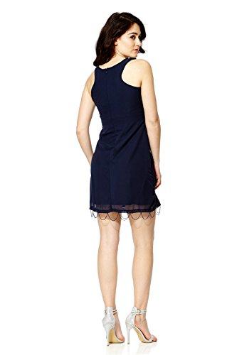 Mujer Años 1920 Estilo Vintage Charlestón Clásico Gatsby Abbey Flequillos Lentejuelas Con Cuentas Vestido Recto Azul